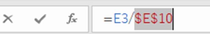 数式バーで相対参照に変更