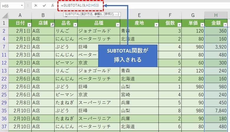 SUBTOTAL関数がオートSUMボタンで挿入される