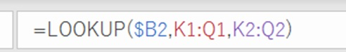 横長マスタ表のLOOKUP関数を数式バーに入力