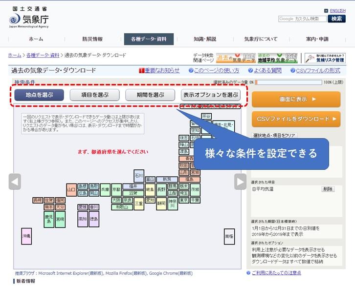 気象庁のホームページ