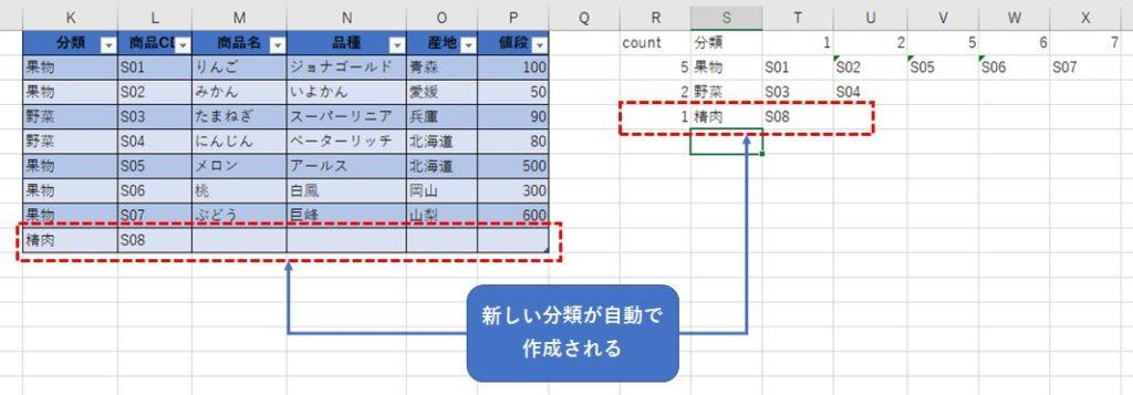AGGREGATE関数を使用して自動追加